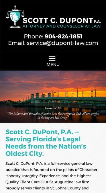 Responsive Mobile Attorney Website for Scott C. DuPont, P.A.