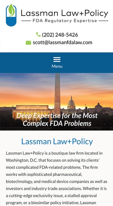 Responsive Mobile Attorney Website for Lassman Law+Policy
