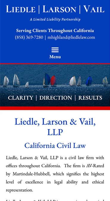 Responsive Mobile Attorney Website for Liedle, Larson & Vail, LLP