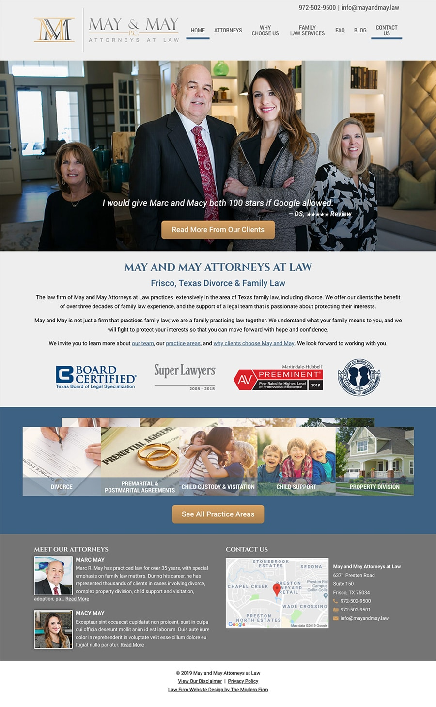 Law Firm Website Design for May and May Attorneys at Law