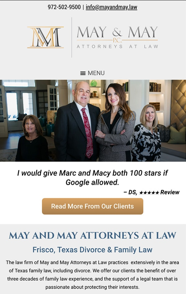 Mobile Friendly Law Firm Webiste for May and May Attorneys at Law