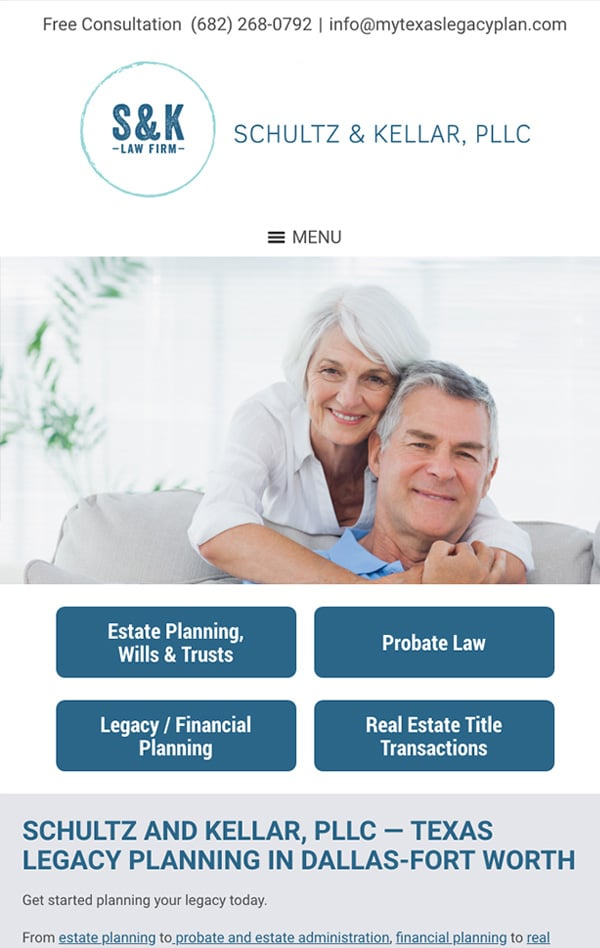 Mobile Friendly Law Firm Webiste for Schultz and Kellar, PLLC