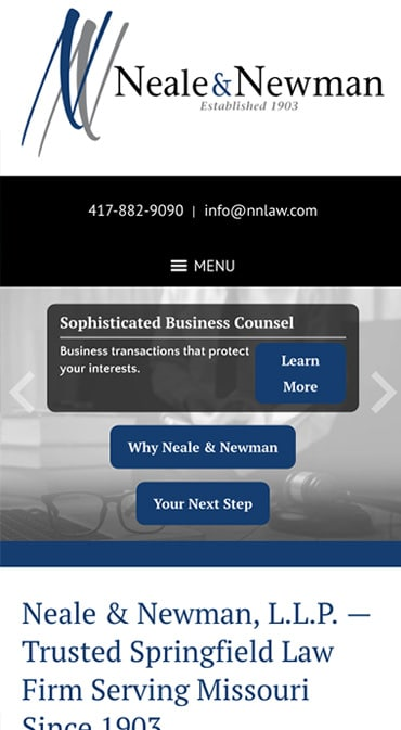 Responsive Mobile Attorney Website for Neale & Newman, L.L.P.