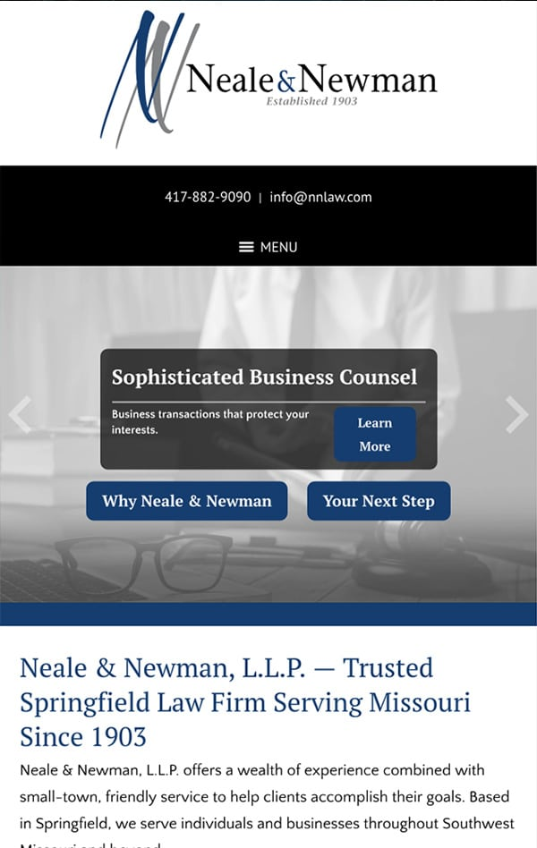 Mobile Friendly Law Firm Webiste for Neale & Newman, L.L.P.