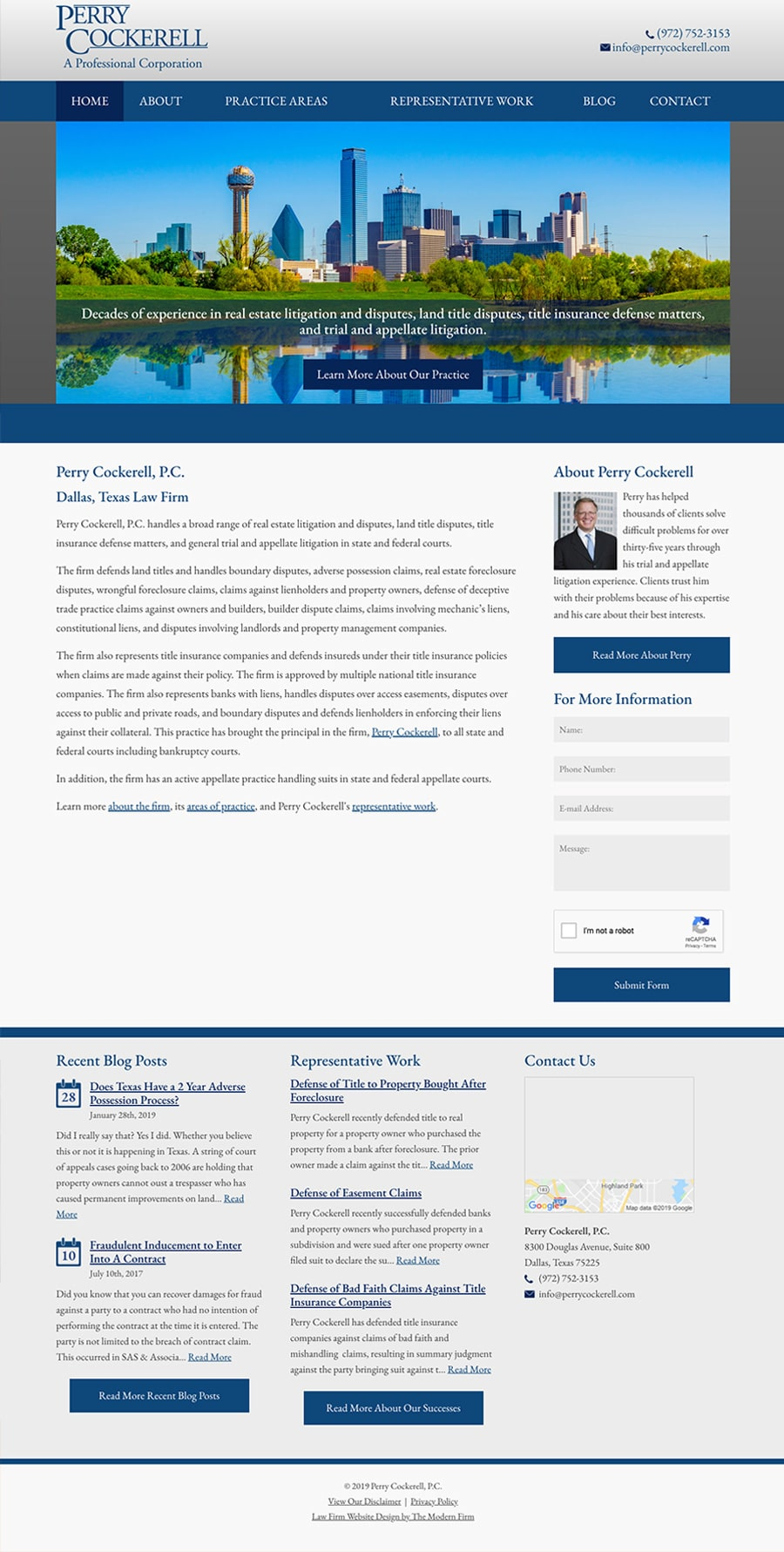 Law Firm Website Design for Perry Cockerell, P.C.