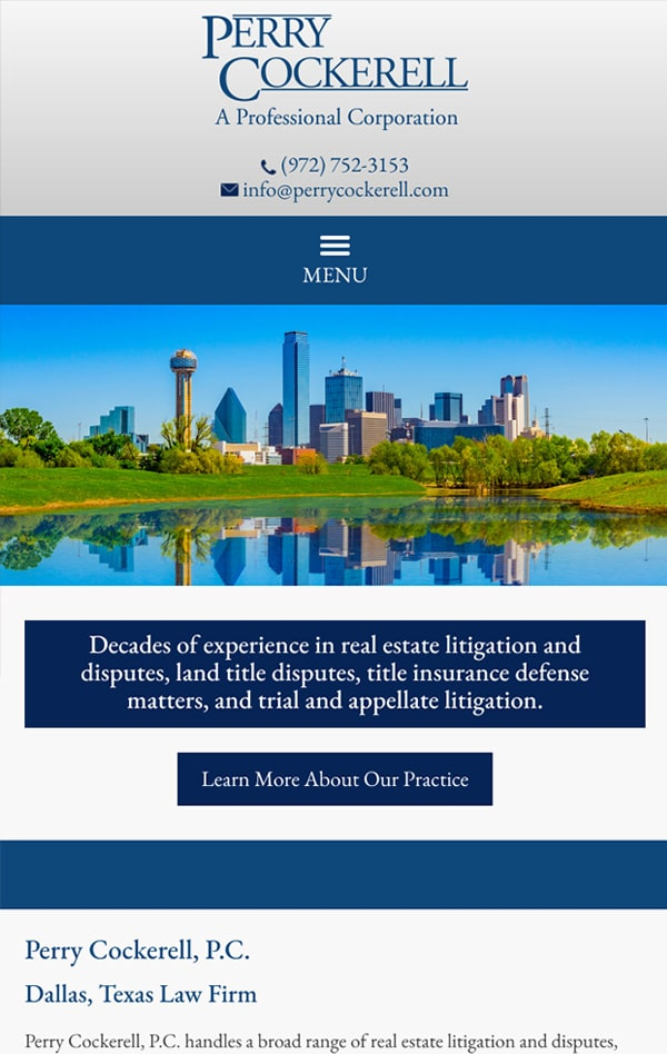 Mobile Friendly Law Firm Webiste for Perry Cockerell, P.C.