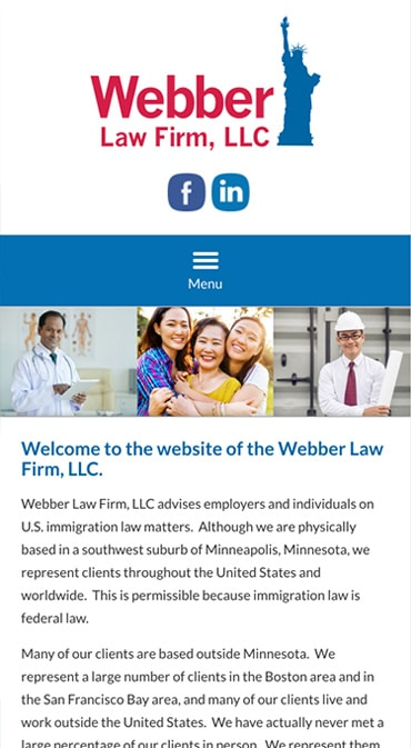 Responsive Mobile Attorney Website for Webber Law Firm, LLC