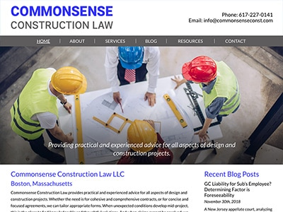 Law Firm Website design for Commonsense Construction…