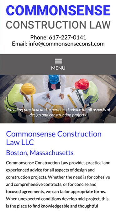 Responsive Mobile Attorney Website for Commonsense Construction Law