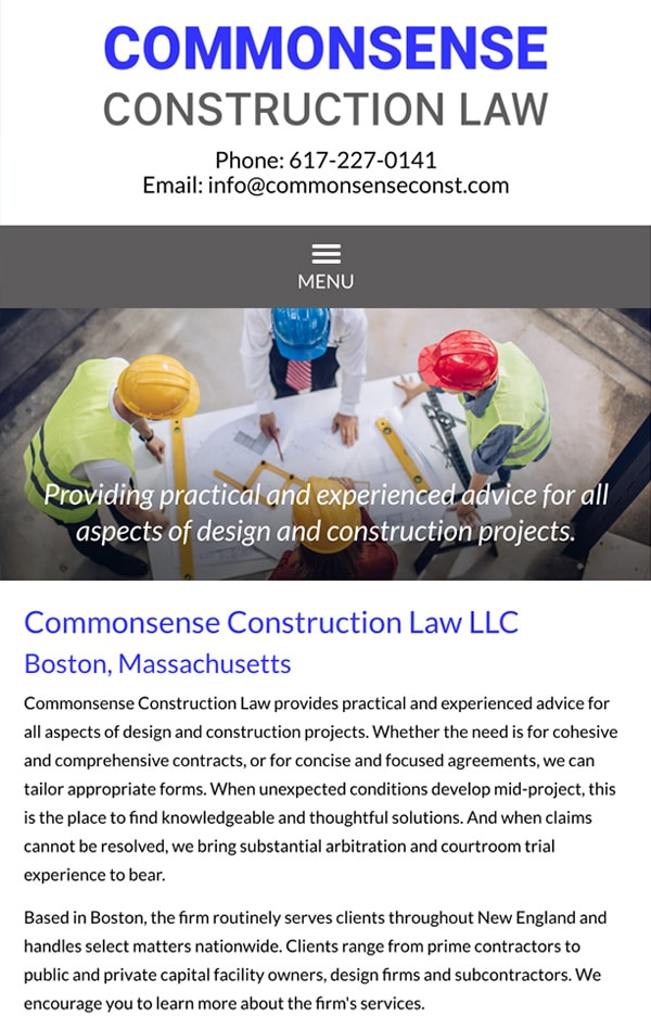 Mobile Friendly Law Firm Webiste for Commonsense Construction Law