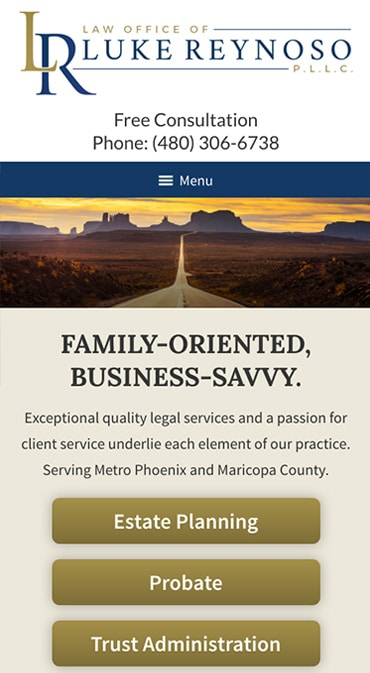 Responsive Mobile Attorney Website for Law Office of Luke Reynoso, PLLC