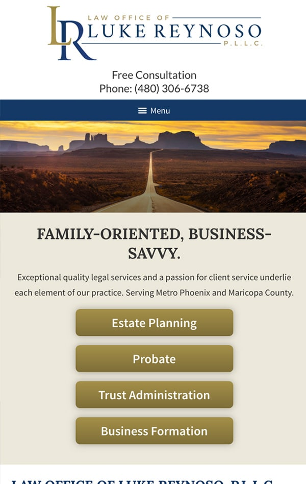 Mobile Friendly Law Firm Webiste for Law Office of Luke Reynoso, PLLC