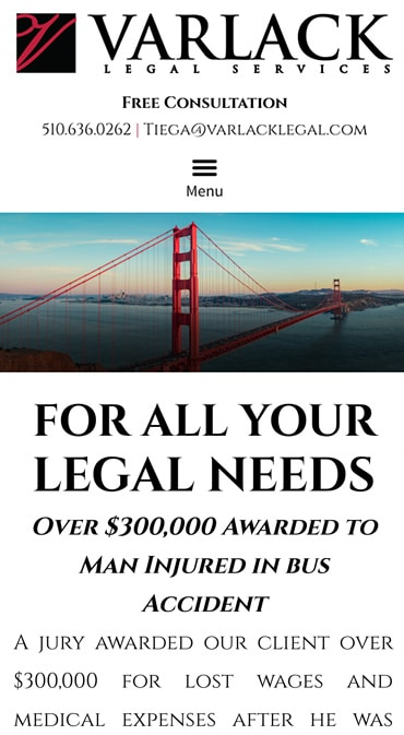 Responsive Mobile Attorney Website for Varlack Legal Services