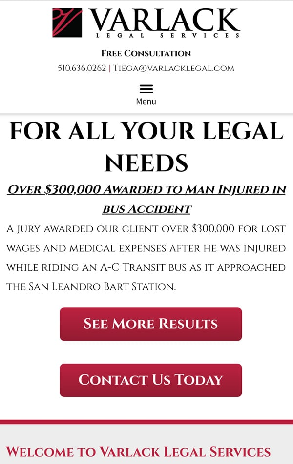Mobile Friendly Law Firm Webiste for Varlack Legal Services