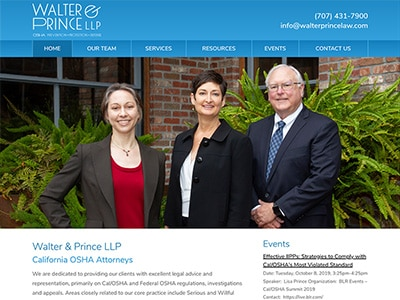 Law Firm Website design for Walter & Prince LLP