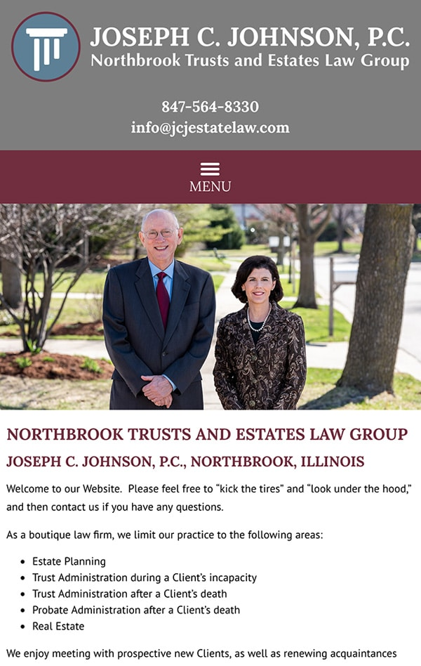 Mobile Friendly Law Firm Webiste for Joseph C. Johnson, P.C.