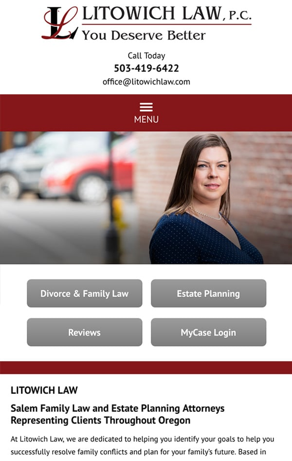 Mobile Friendly Law Firm Webiste for Litowich Law PC