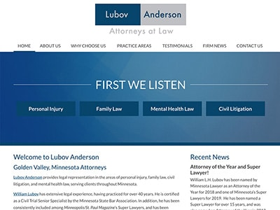 Law Firm Website design for Lubov & Associates, LLC