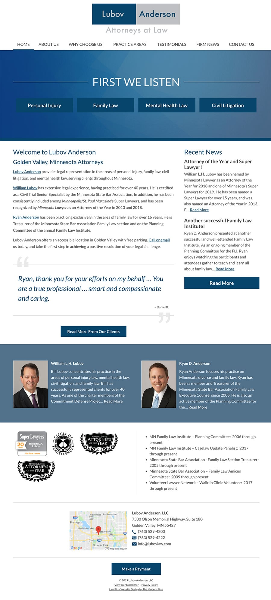 Law Firm Website for Lubov & Associates, LLC