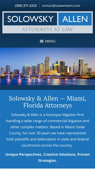 Responsive Mobile Attorney Website for Solowsky & Allen, P.L.