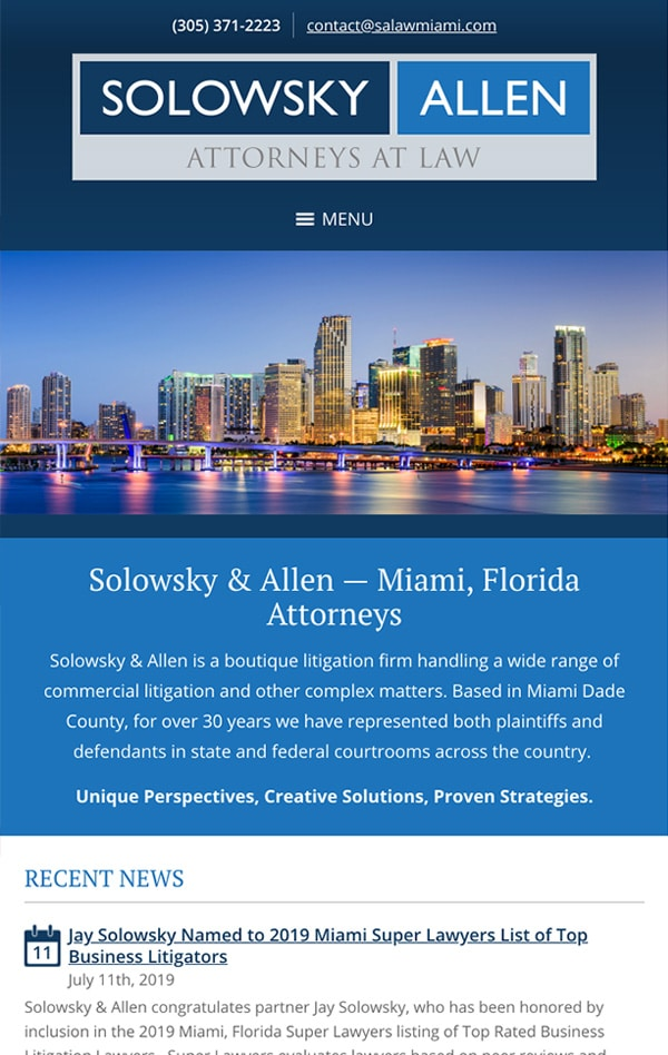 Mobile Friendly Law Firm Webiste for Solowsky & Allen, P.L.