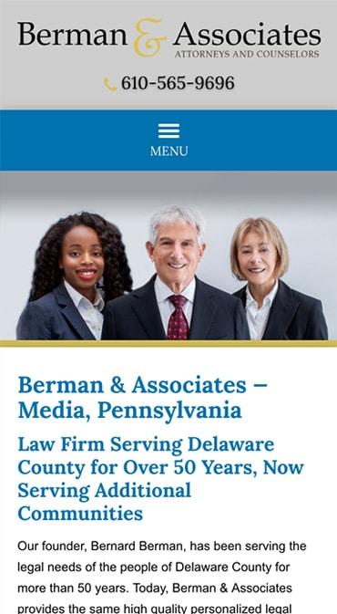 Responsive Mobile Attorney Website for Berman & Associates