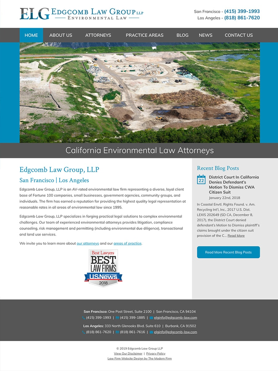 Law Firm Website Design for Edgcomb Law Group LLP