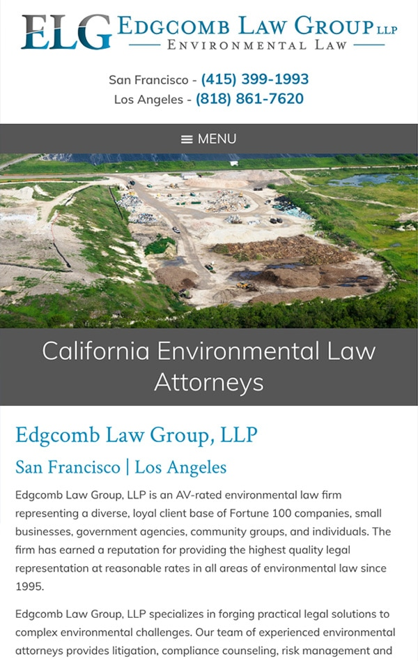 Mobile Friendly Law Firm Webiste for Edgcomb Law Group LLP