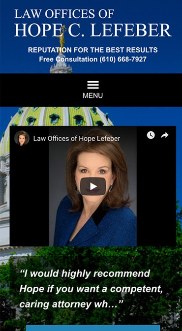 Responsive Mobile Attorney Website for Law Offices of Hope Lefeber