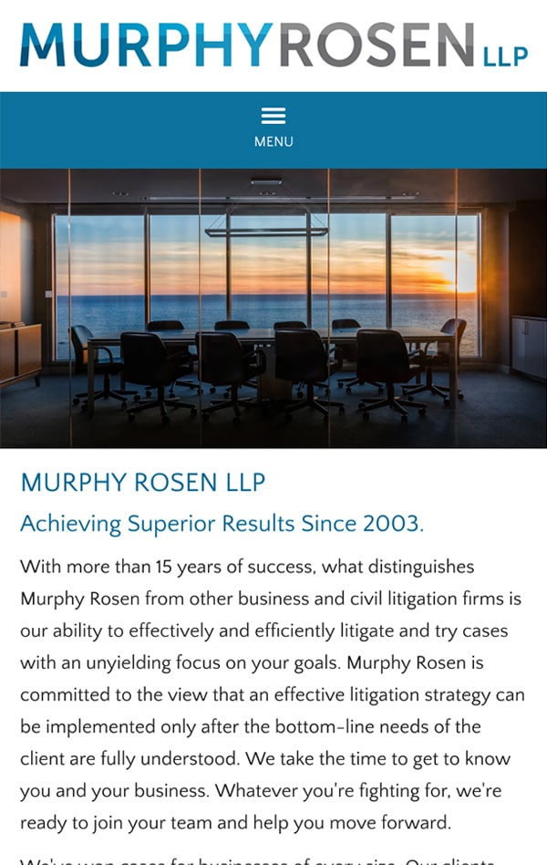 Mobile Friendly Law Firm Webiste for Murphy Rosen LLP