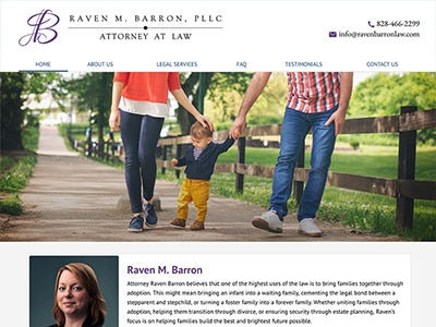 Law Firm Website design for Raven M. Barron, PLLC