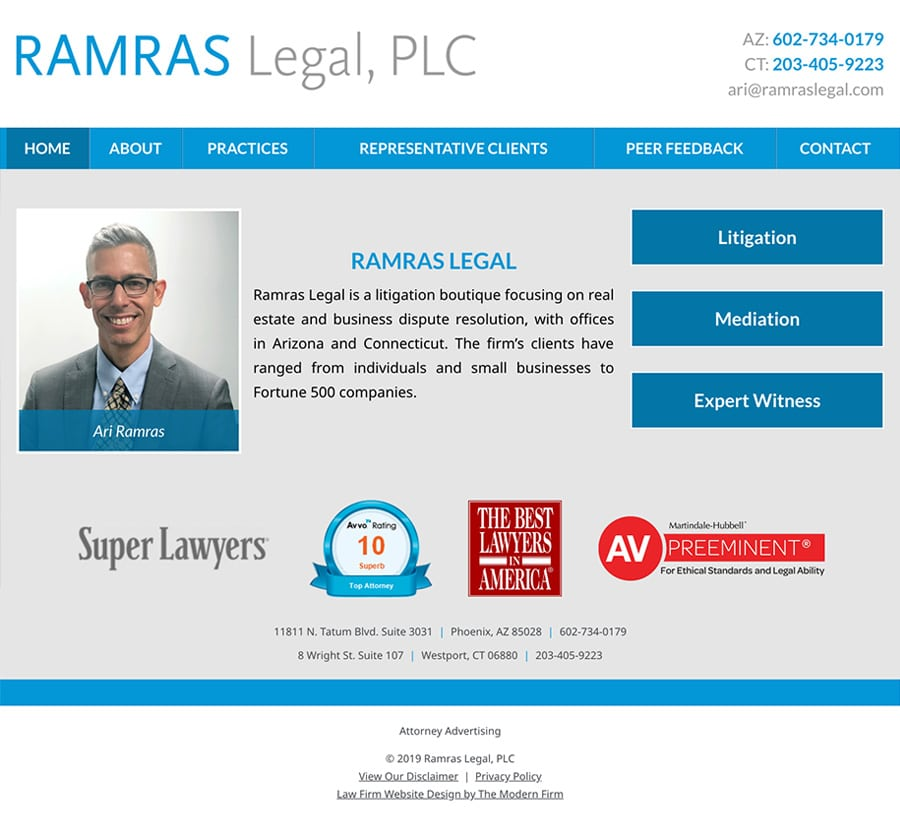 Law Firm Website for Ramras Legal, PLC