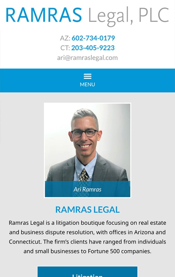 Mobile Friendly Law Firm Webiste for Ramras Legal, PLC
