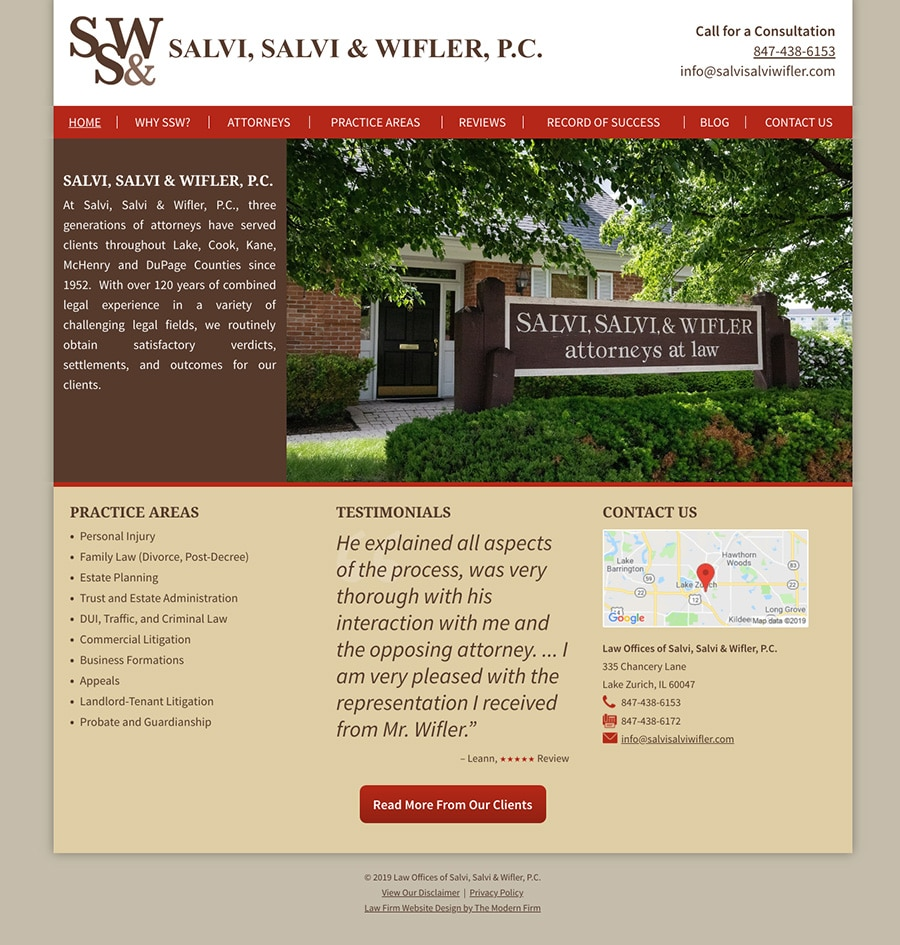Law Firm Website Design for Law Offices of Salvi, Salvi & Wifler, P.C.