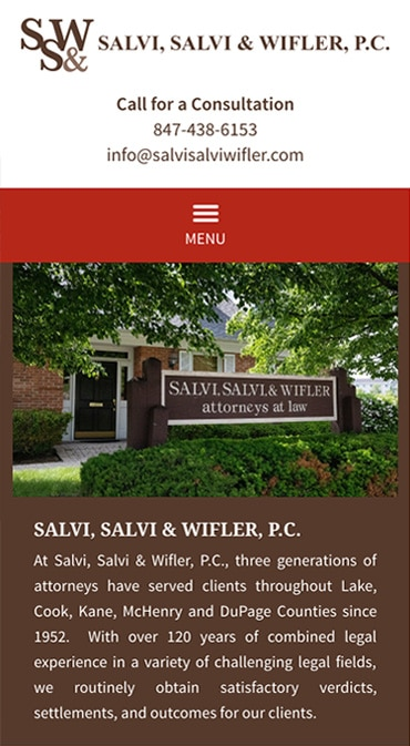 Responsive Mobile Attorney Website for Law Offices of Salvi, Salvi & Wifler, P.C.