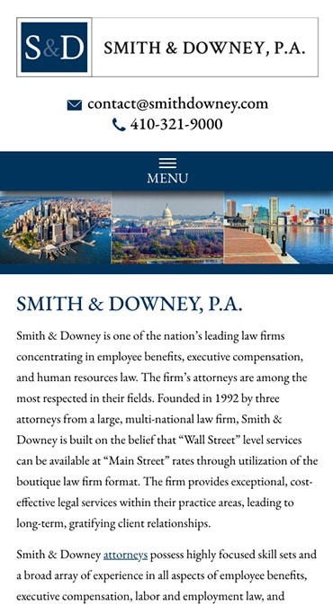 Responsive Mobile Attorney Website for Smith & Downey, P.A.