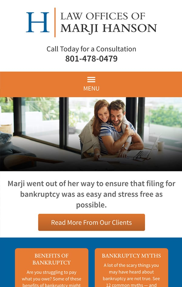 Mobile Friendly Law Firm Webiste for Law Offices of Marji Hanson