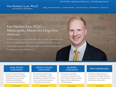 Law Firm Website design for Van Nurden Law, PLLC