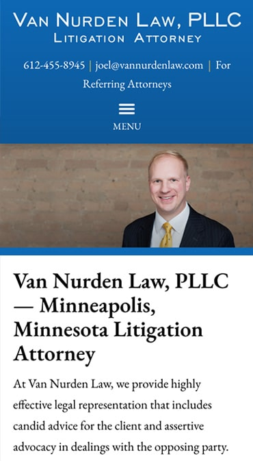 Responsive Mobile Attorney Website for Van Nurden Law, PLLC
