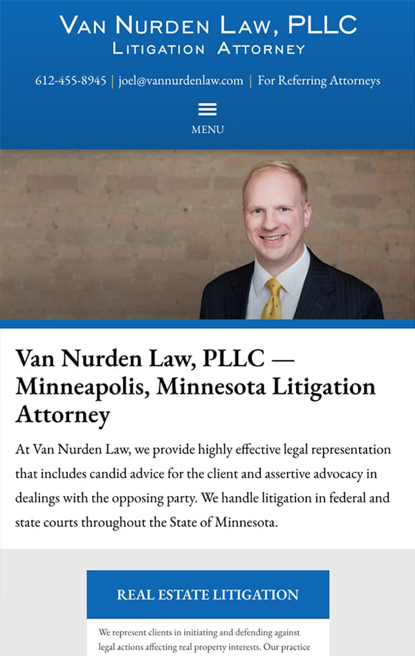 Mobile Friendly Law Firm Webiste for Van Nurden Law, PLLC