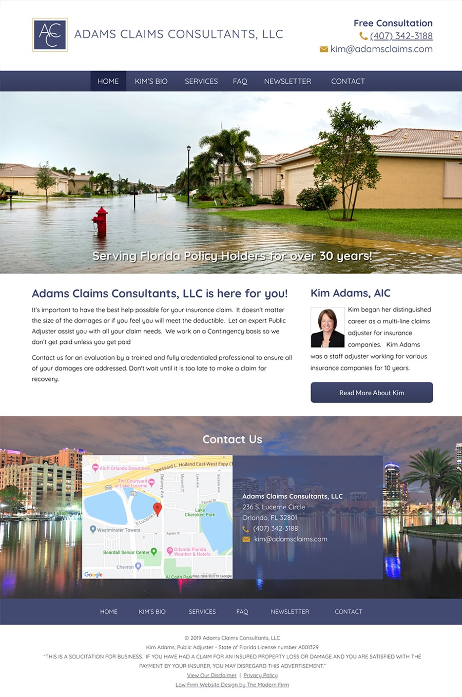 Law Firm Website Design for Adams Claims Consultants, LLC