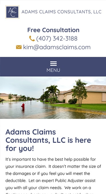 Responsive Mobile Attorney Website for Adams Claims Consultants, LLC