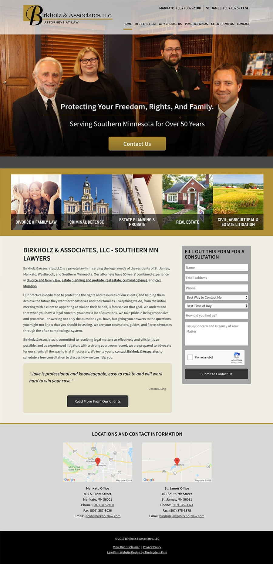 Law Firm Website Design for Birkholz & Associates, LLC