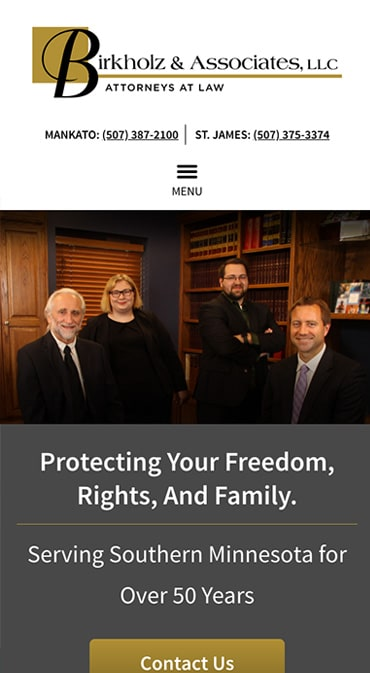 Responsive Mobile Attorney Website for Birkholz & Associates, LLC