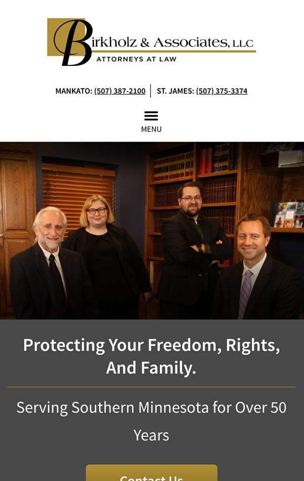 Mobile Friendly Law Firm Webiste for Birkholz & Associates, LLC