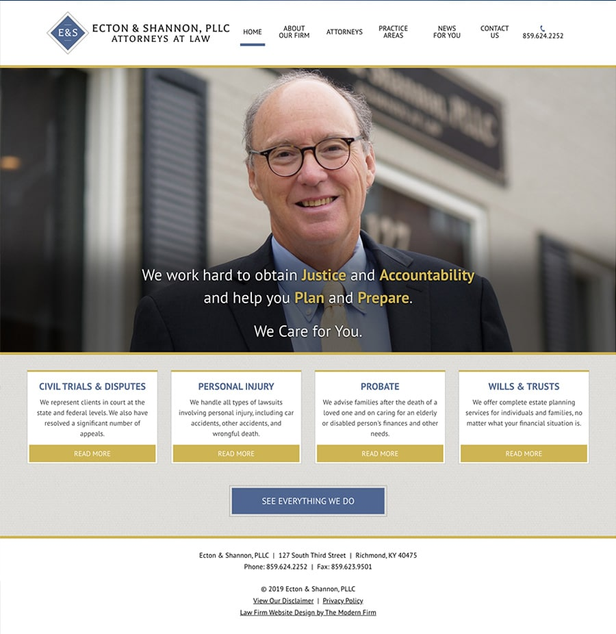 Law Firm Website Design for Ecton & Shannon, PLLC