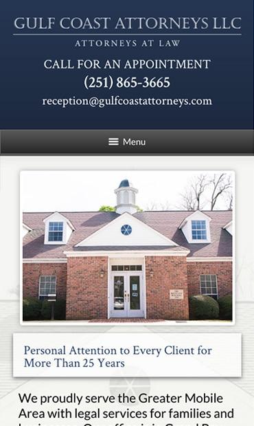 Responsive Mobile Attorney Website for Gulf Coast Attorneys LLC