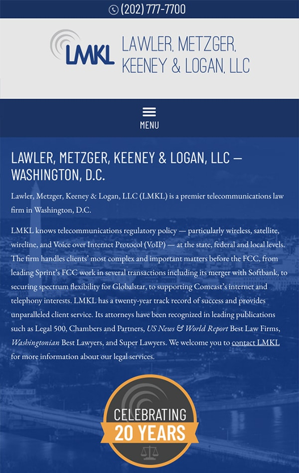 Mobile Friendly Law Firm Webiste for Lawler, Metzger, Keeney & Logan, LLC