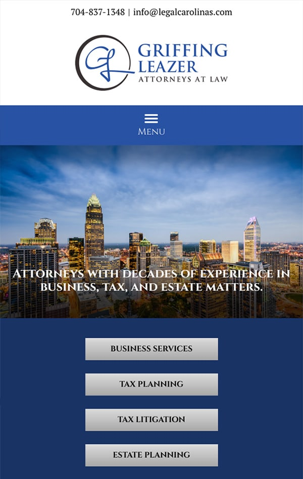 Mobile Friendly Law Firm Webiste for Griffing Leazer, PLLC