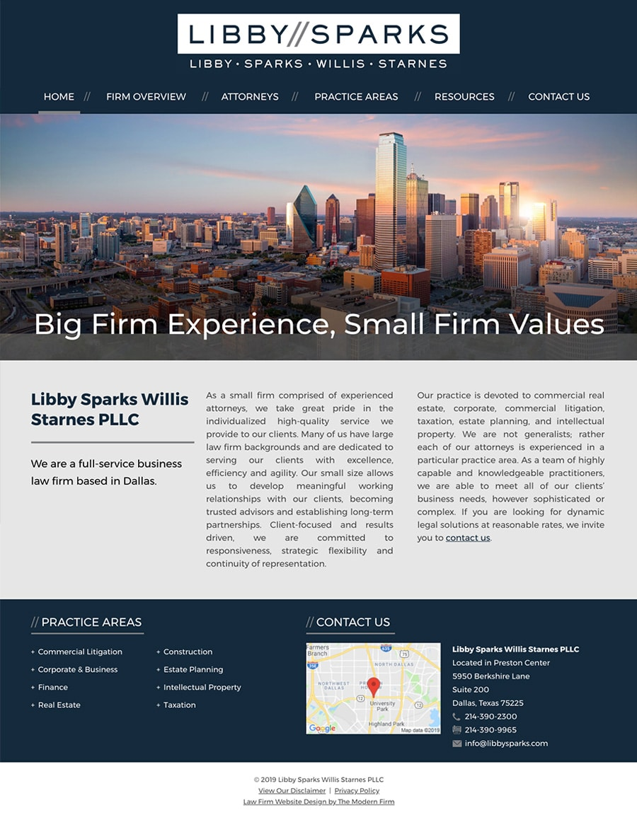 Law Firm Website Design for Libby Sparks Willis Starnes PLLC